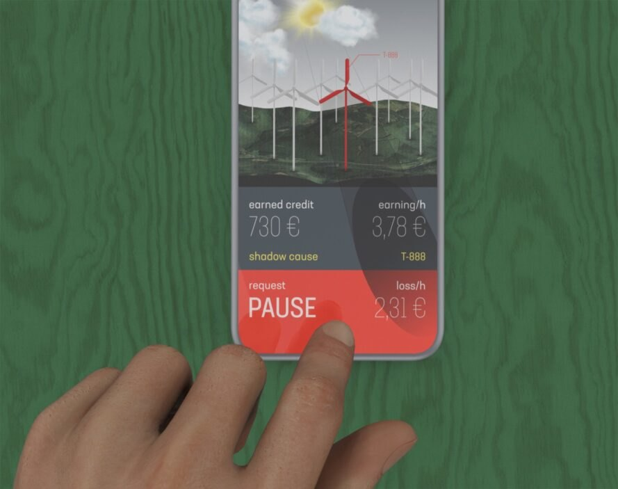rendering of person pressing button on a wind turbine app
