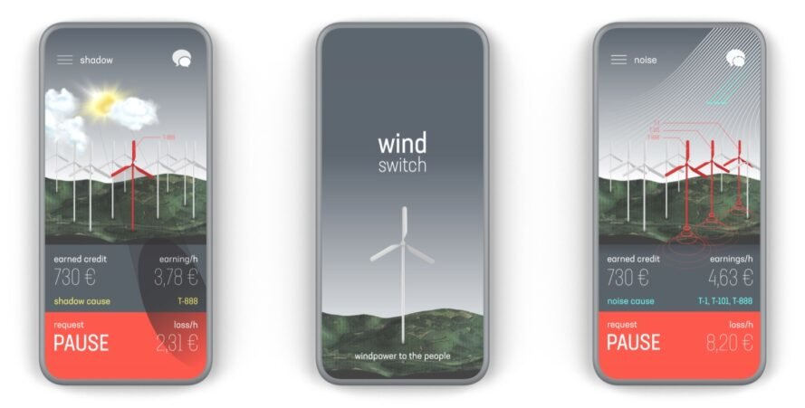 rendering of phones with app interface that controls nearby wind turbines