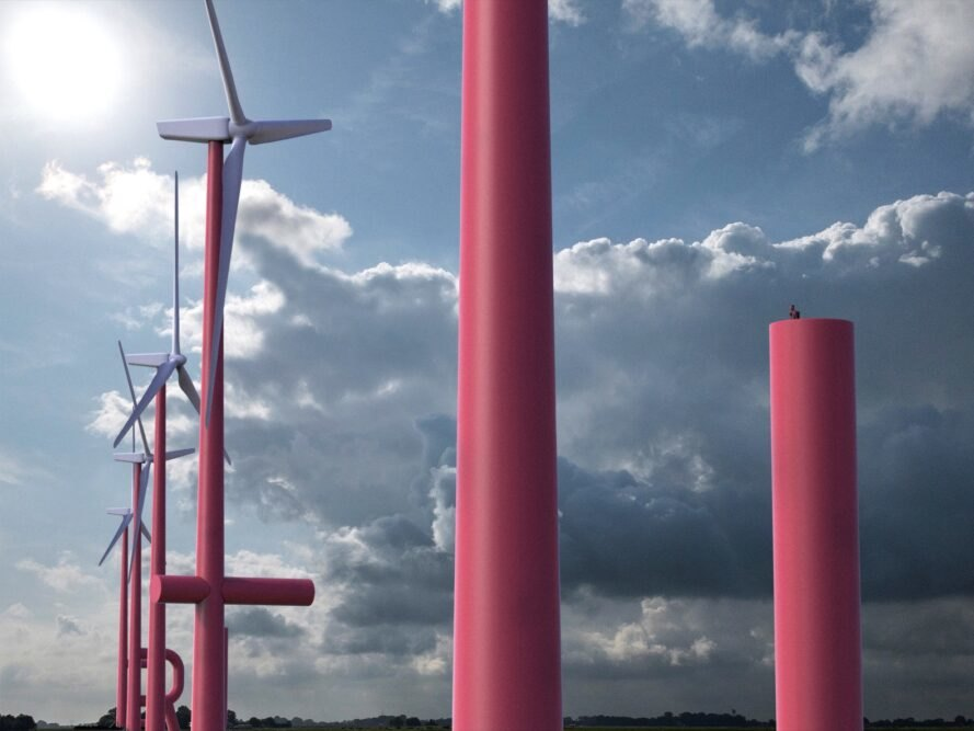 tall, red wind turbines