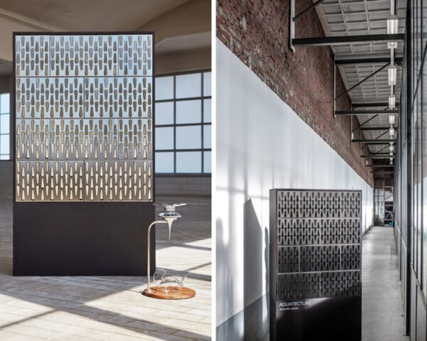 display of metal facade panel with perforated design