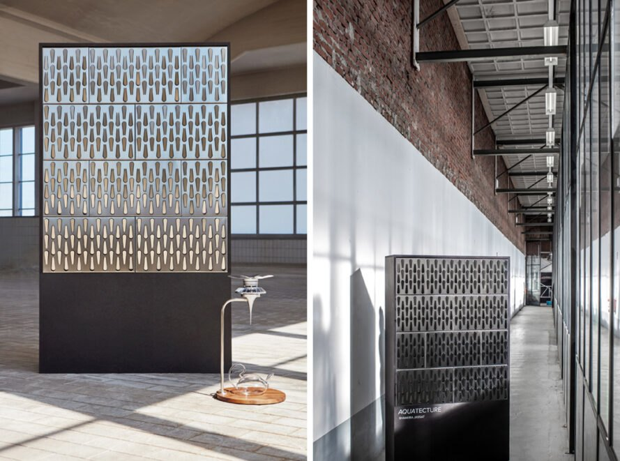 Modular Aquatecture panels can harvest rainwater from the sides of buildings