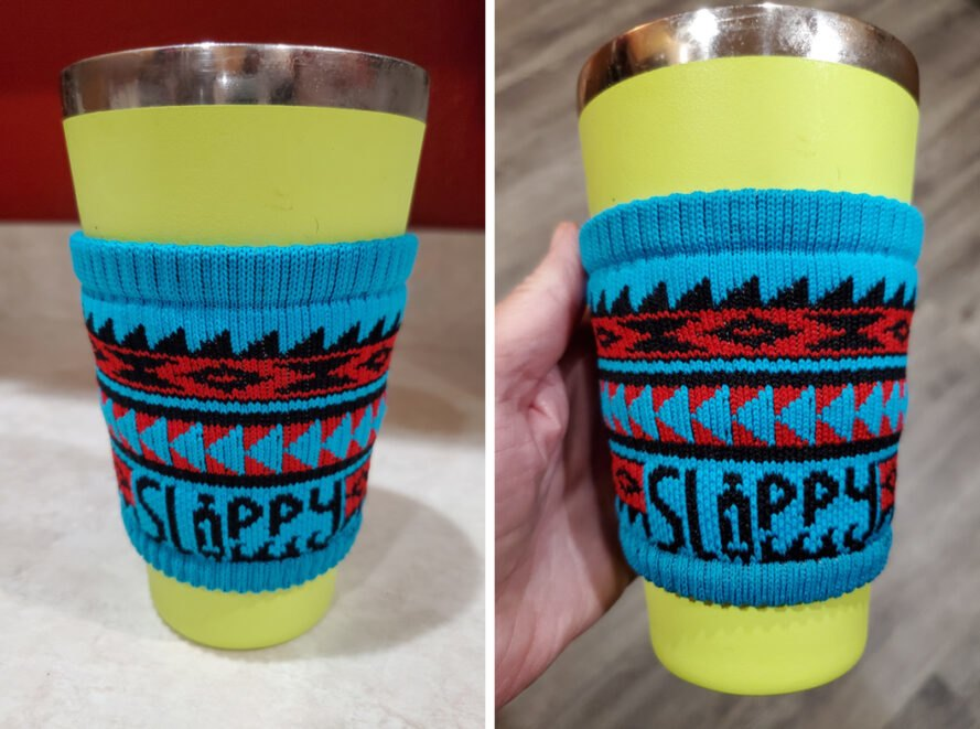 green cup wrapped in blue cloth reusable cup sleeve
