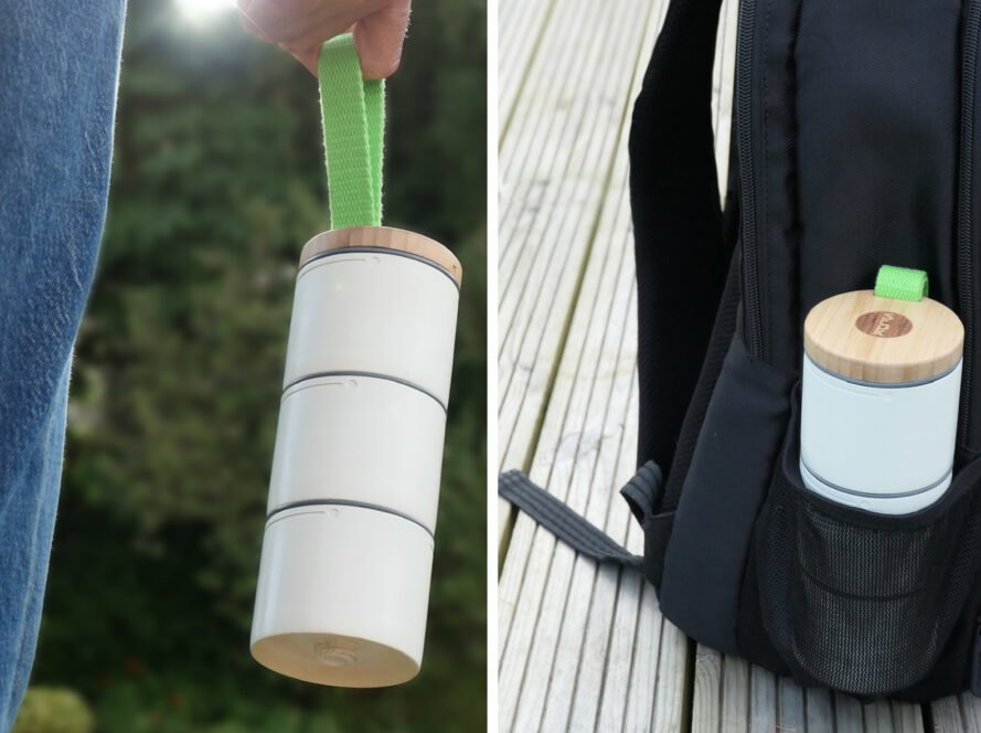On the left, person holding stacked white food containers. On the right, stacked white food containers in water bottle pouch of a backpack.
