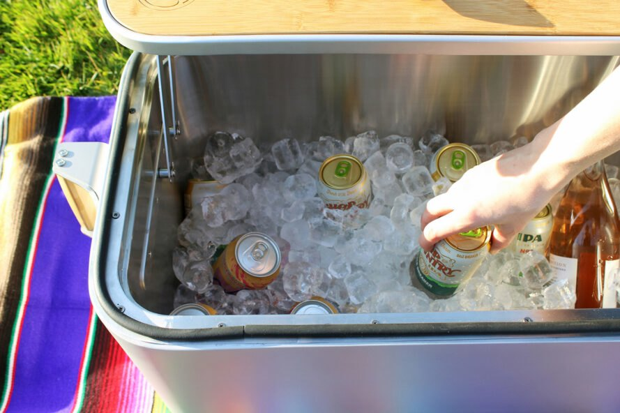 ice and drinks in a steel cooler