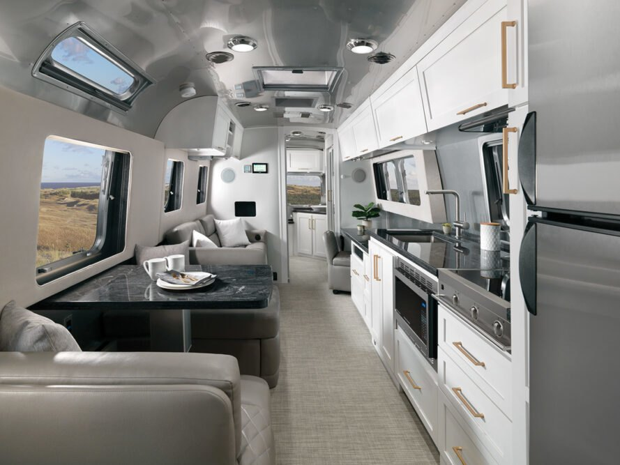 interior layout of 2020 Classic Airstream, featuring black tabletop