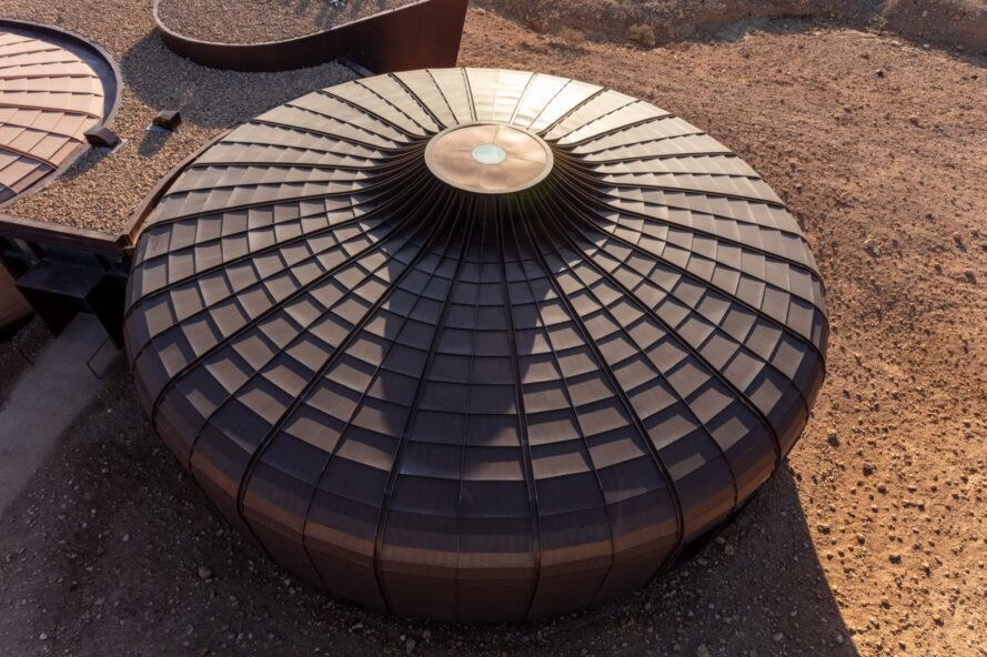 a bird's-eye view of one of the circular structures, with an upturned top