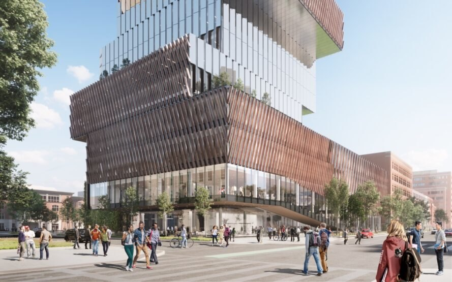 rendering of staggered wood and glass tower