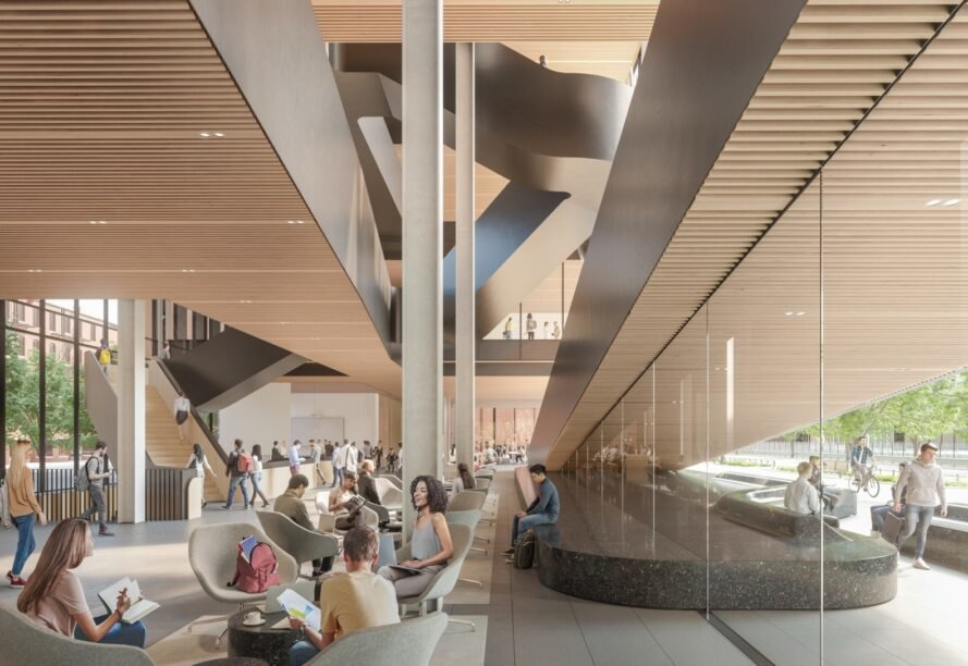rendering of college students studying in chairs in room with glass walls