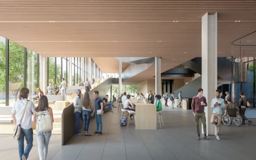 rendering of college students walking and talking in room with wood ceilings and glass walls