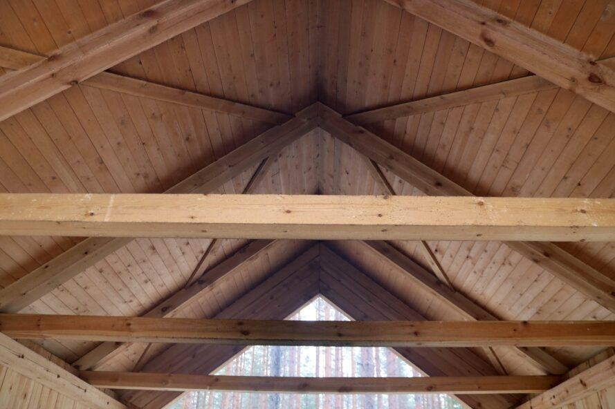 close-up of wood ceiling beams