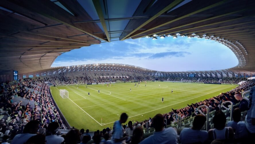 rendering of crowds under timber roof of a sports stadium