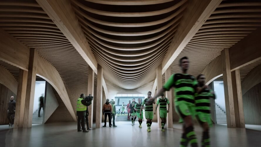 rendering of soccer players walking through curvaceous timber hallway