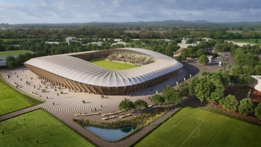 rendering of curvaceous timber sports stadium surrounded by trees