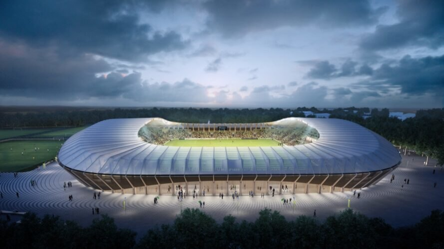 rendering of timber soccer stadium lit up in the center at dusk