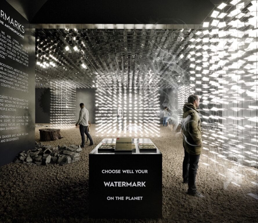 rendering of dark room with climate change art exhibits inside