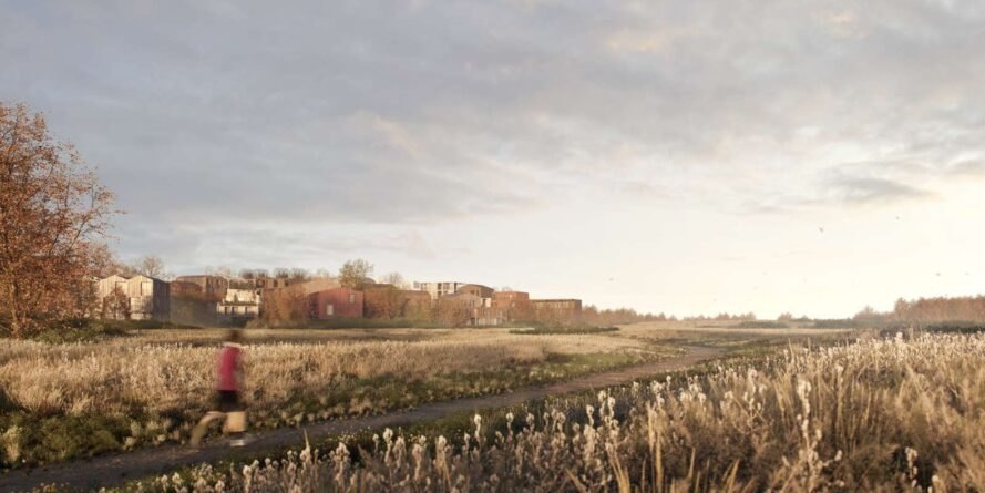 rendering of running path and meadows with timber buildings on the horizon