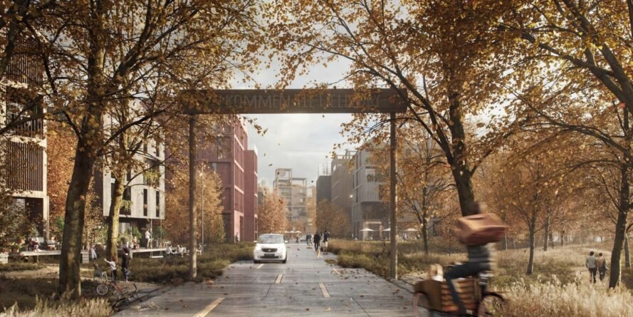 rendering of timber arch over a small street