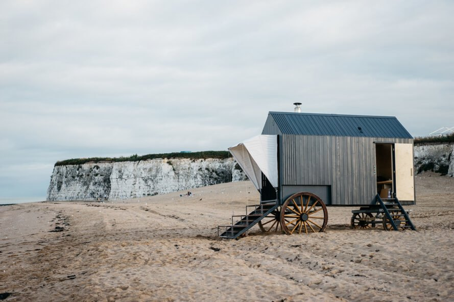 The Haeckels Victorian-style bathing machine has a sauna inside