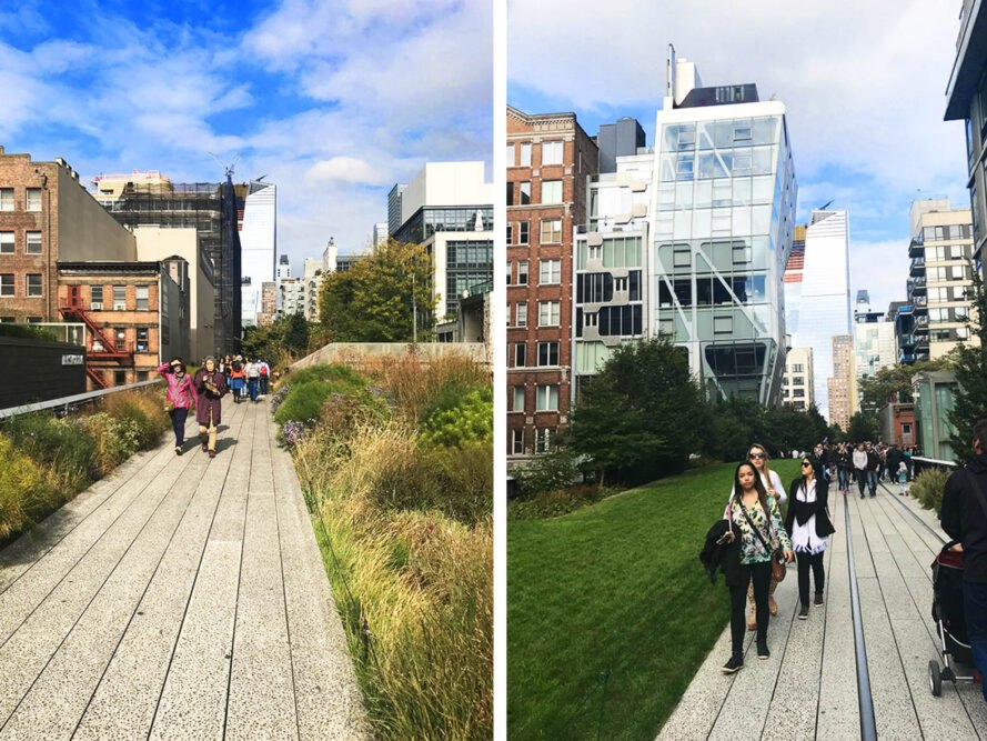the image to the left shows a cobblestone walkway with greenery on either side and city skyscrapers in the background. the image to the right shows a different shot of the same walkway, with green grass to the left side of the walkway and city buildings in the background
