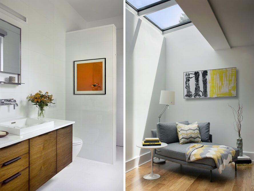 two photos: to the left, a bathroom with mirror, sink and cabinets with white countertops. to the right, a sitting room with a small gray sofa, lamp, art on the wall and a skylight