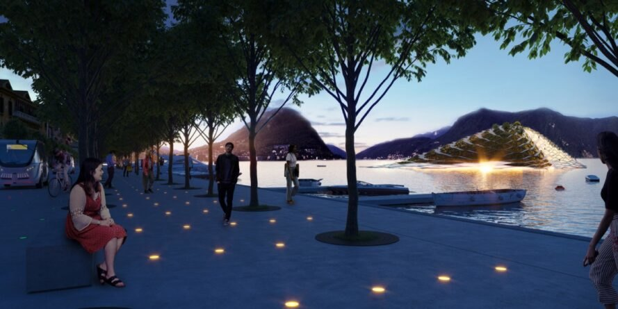 rendering of lit pathway near a lake
