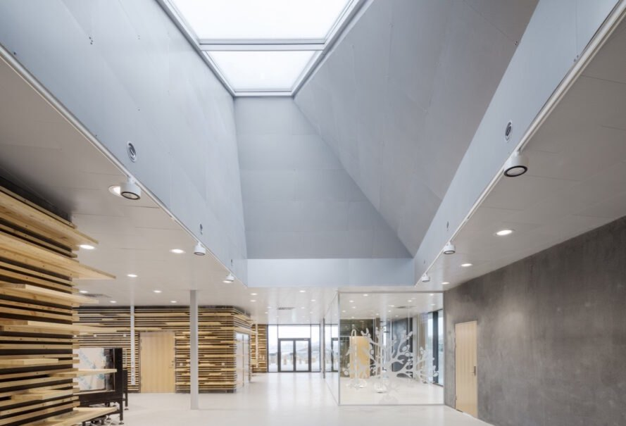 gray interiors with massive skylights