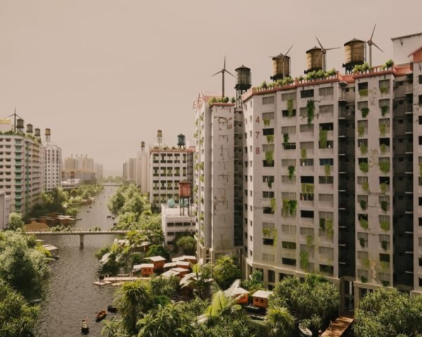 apartment buildings in flooded city
