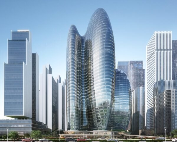 rendering of rounded towers with glass walls