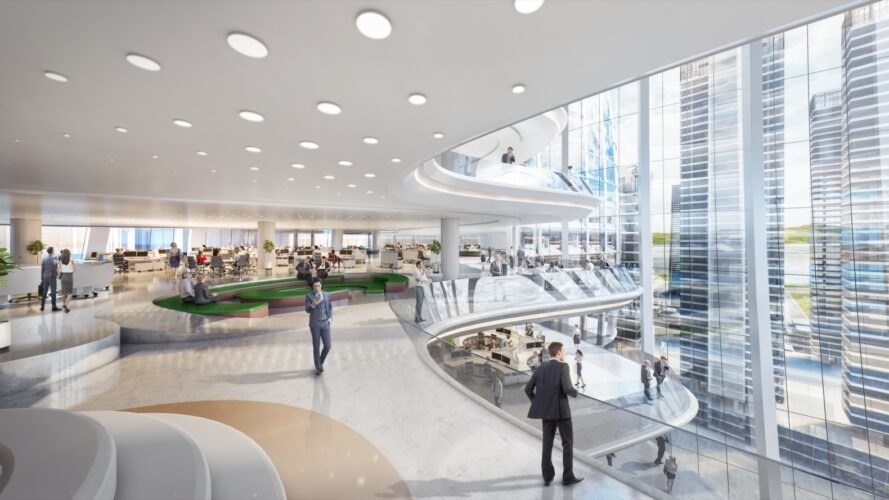 rendering of people walking on curving platforms with glass walls