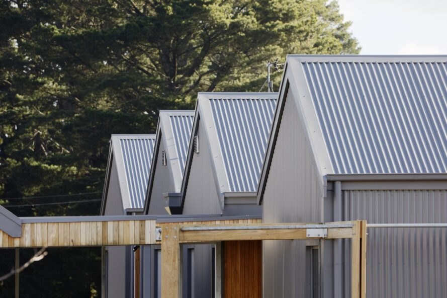 four gabled dark gray roofs