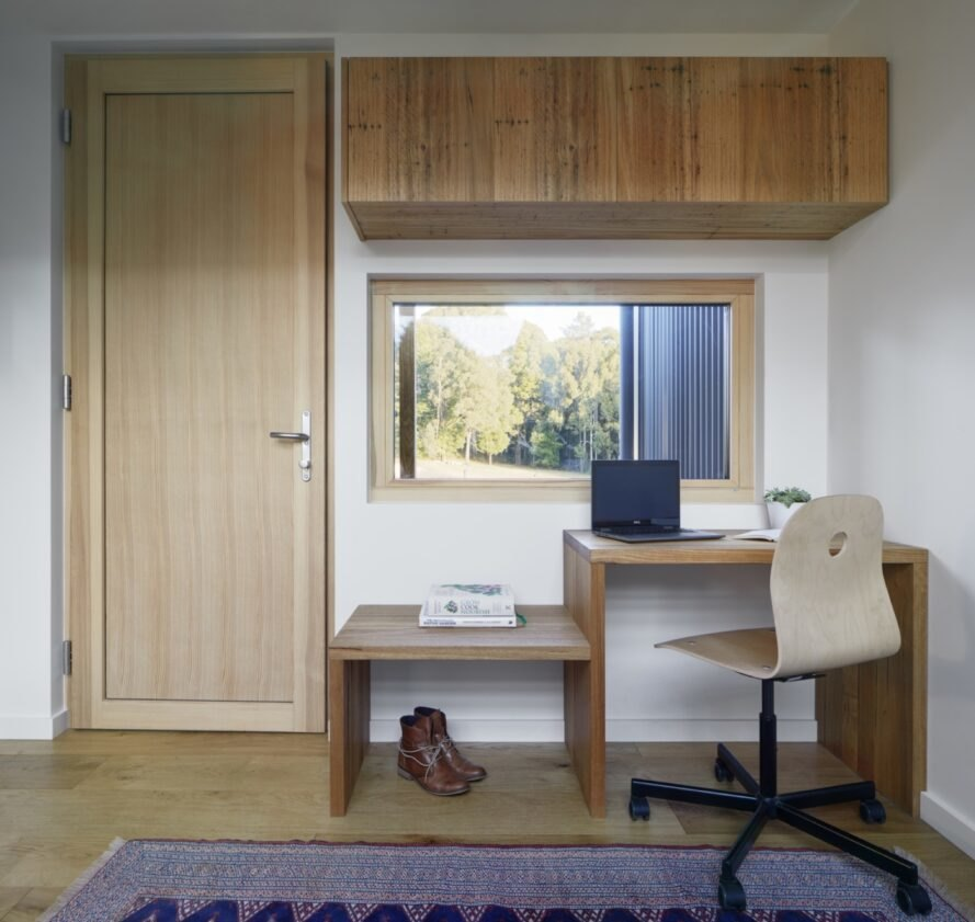 office with simple wood desks