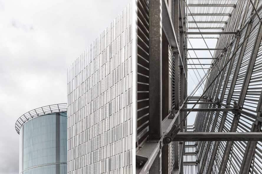on the left an up-close view of the slats on the building's facade. on the right an image of intricate, crossing metal structures.