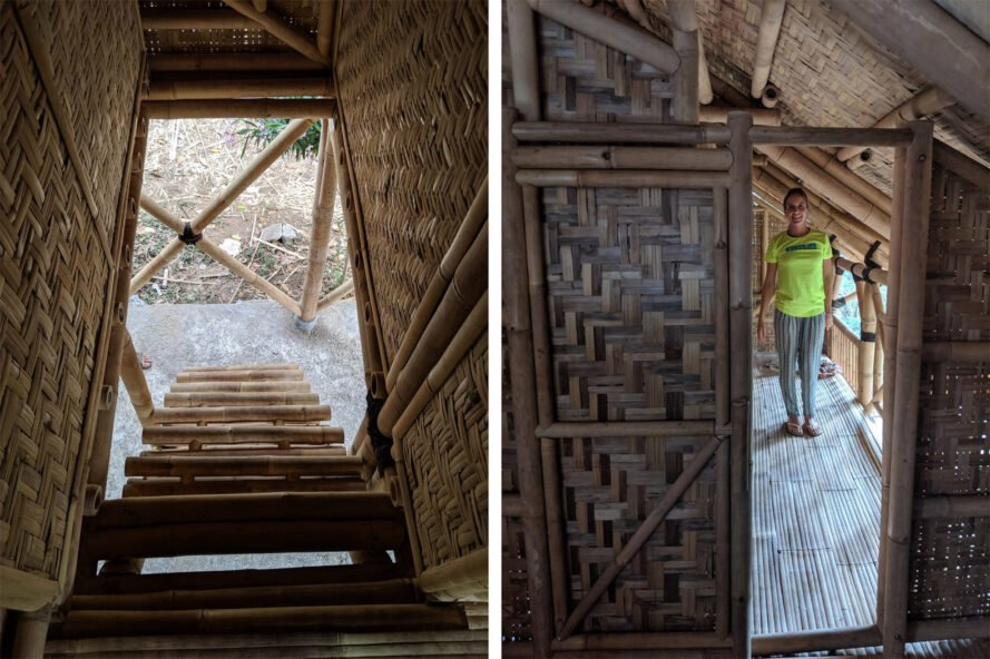two images. to the left, an image from inside the bamboo house, looking down a bamboo staircase. to the right, a bamboo doorway looking into a room where a person in a bright yellow shirt stands.