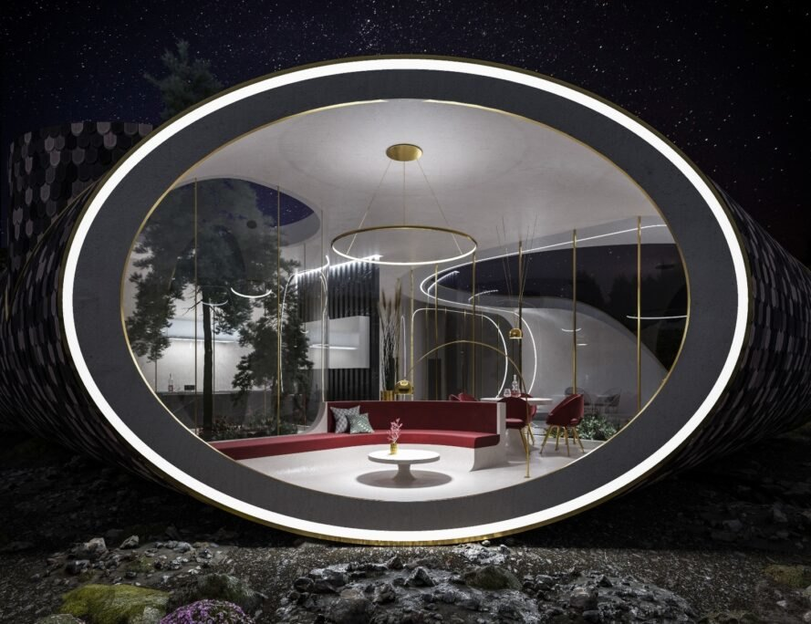 large round window looking into interior living space