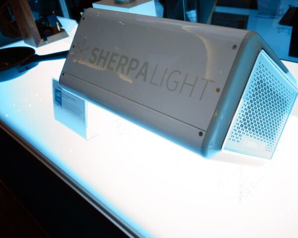 a gray light box labeled