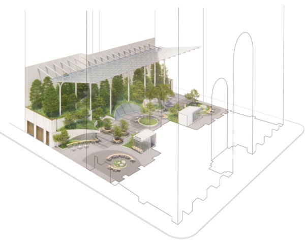 a drawing of the planned building, featuring many trees and outdoor sitting areas