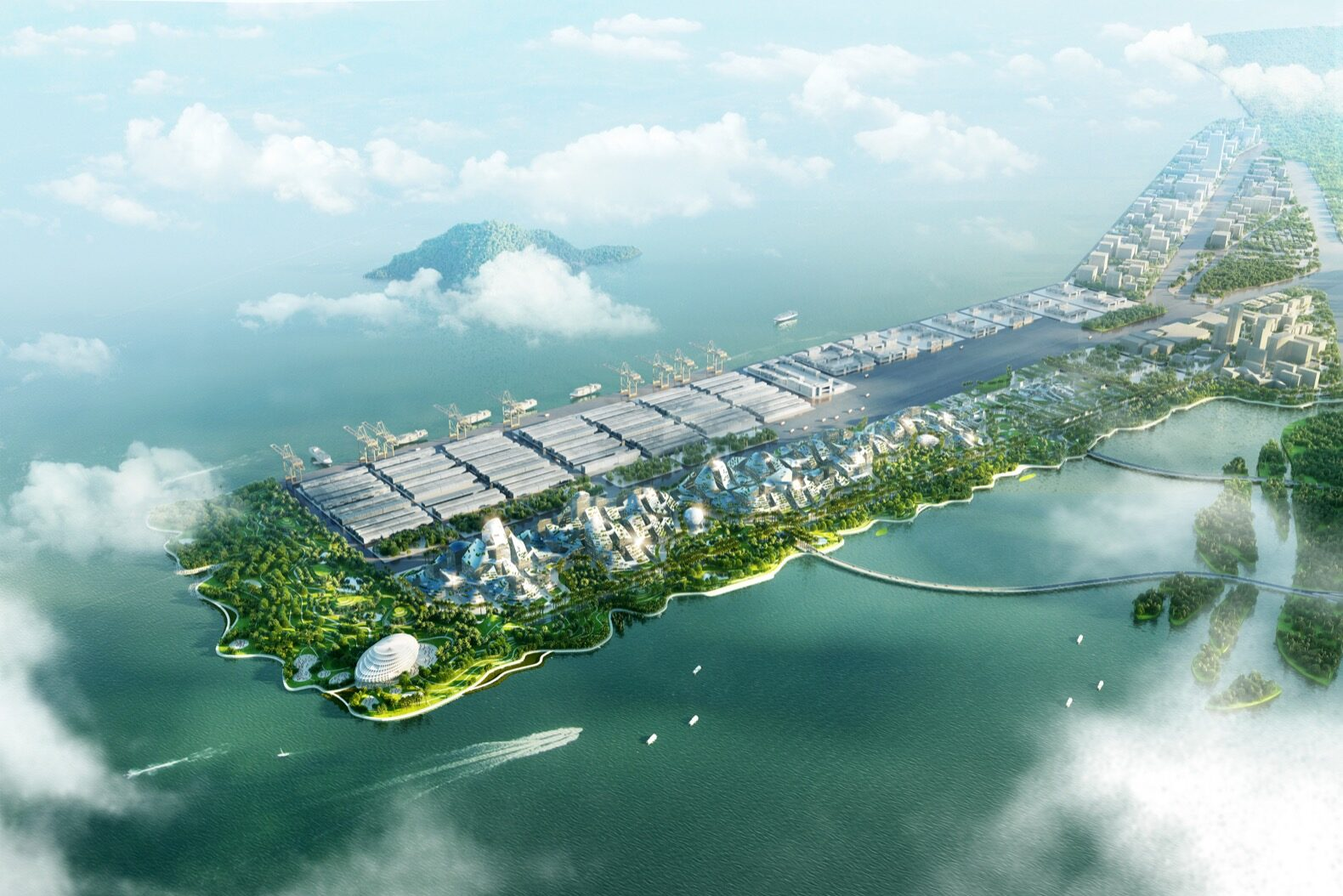a birdseye view of a smart city on an island surrounded by water