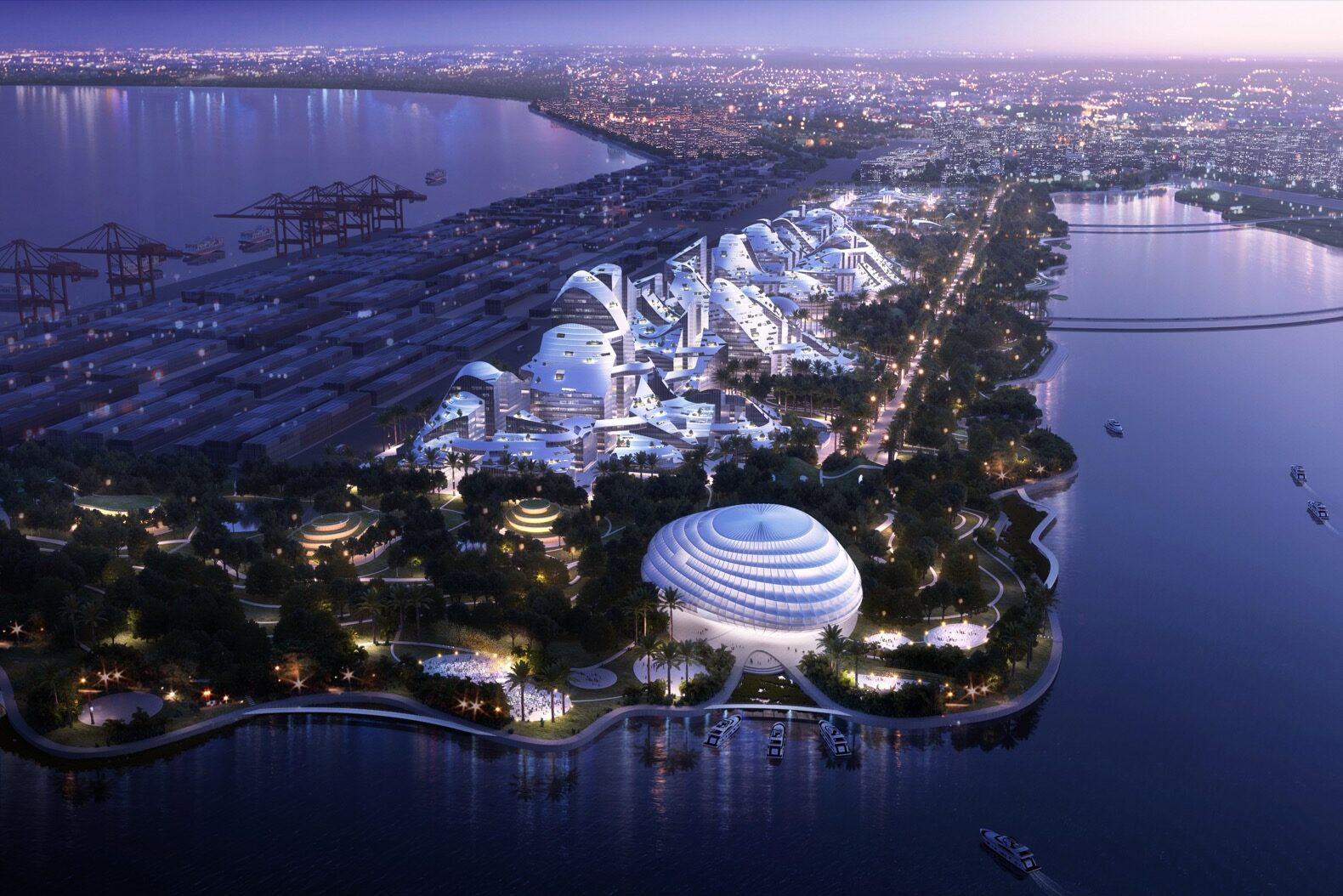 a night view of a birdseye view of a smart city on an island surrounded by water