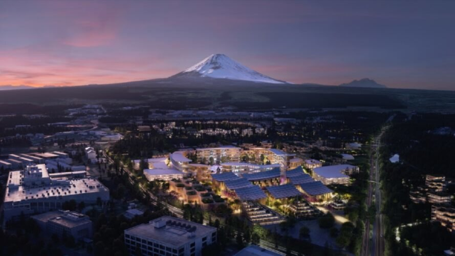 rendering of solar-powered city buildings at dusk with Mt. Fuji in distance