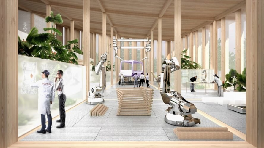 Rendering of large metal robots in a wood building