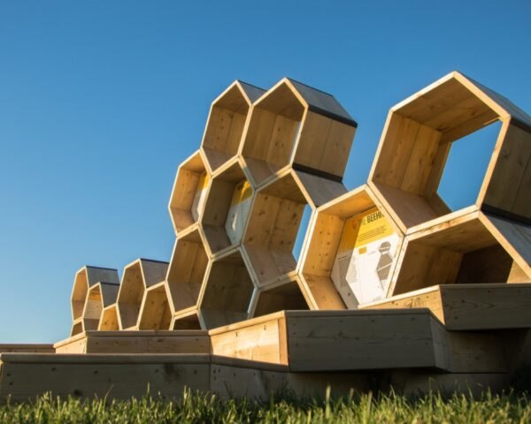 wooden hexagons stacked to resembled beehives