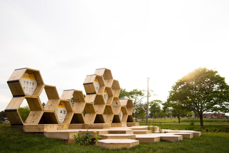 series of stacked wooden hexagons