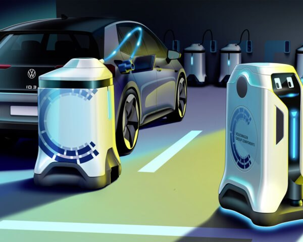a rendering of green light shining on a robot, with a display that looks towards a parked car. a charging station is attached to the car
