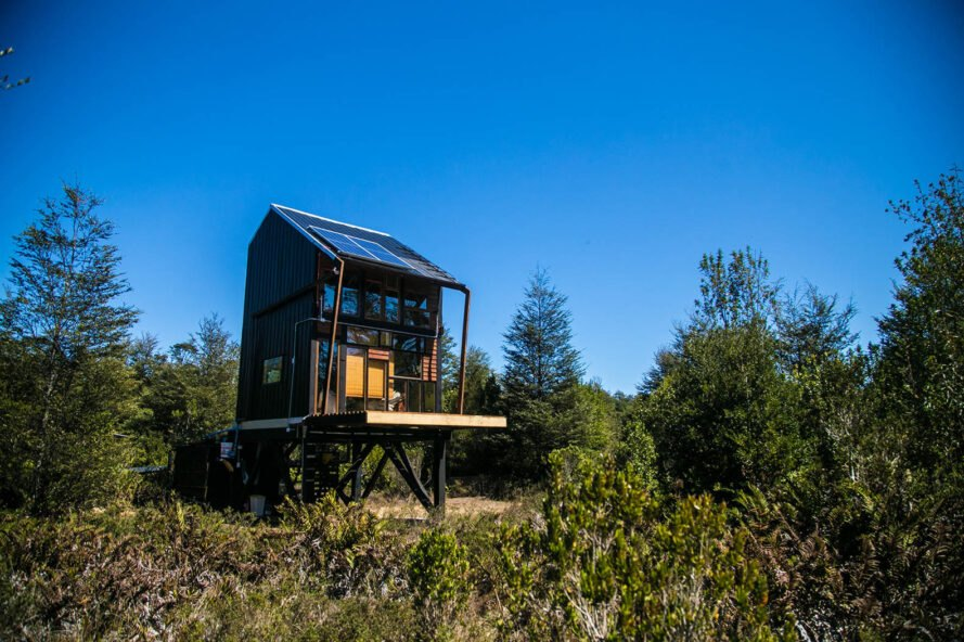 greenery surrounds a solitary cabin