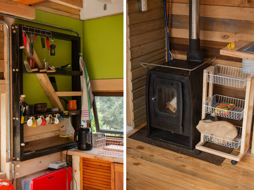two photos. to the left, a photo of storage in the kitchen, with green walls surrounding and a red structure under the shelving. to the right, a photo of a small black box that holds the fireplace.