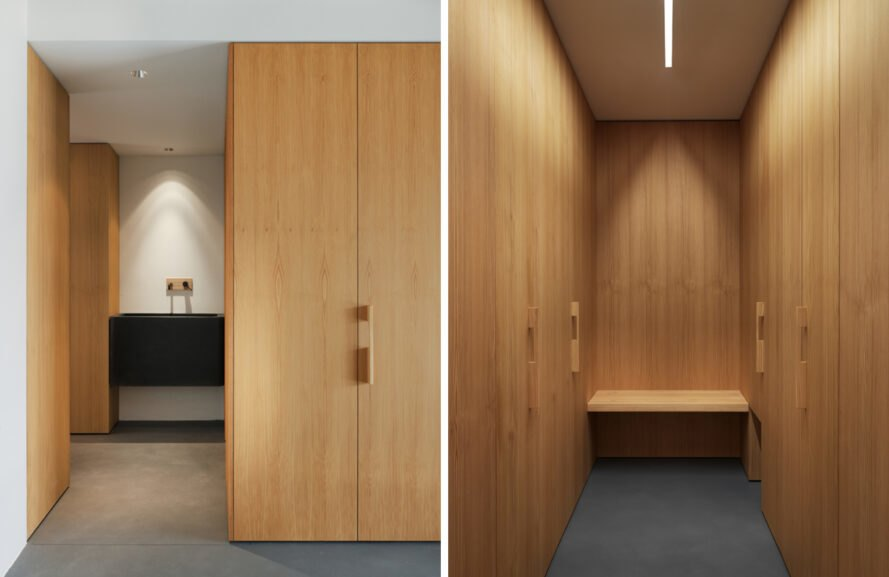 wood-lined bathroom and sauna space