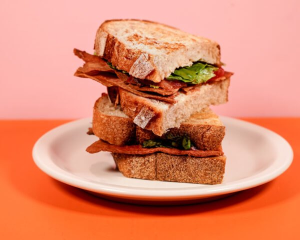 meatless bacon on a sandwich