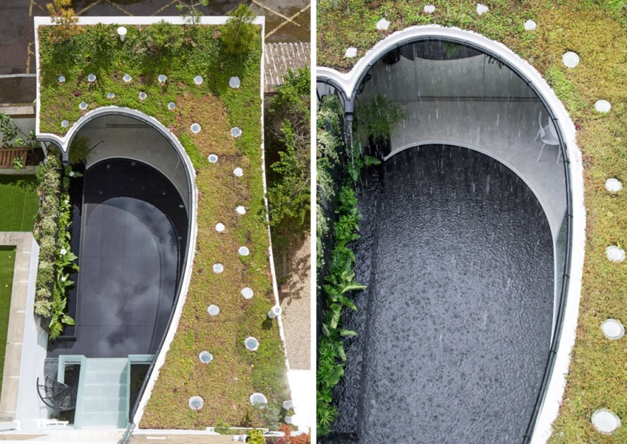 two photos. to the left, a far view of the pool of water, surrounded by the green roof. to the right, a close-up of the pool as rain falls into it