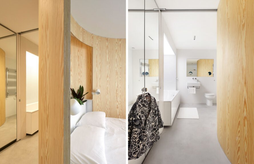 two photos. to the left, light colored wood features in the bedroom. to the right, a shot of an all-white bathroom, with black and white coat hung up on a doorknob to the left