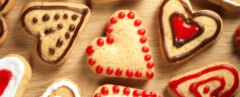 heart-shaped cookies on wood table